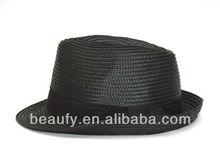 black straw fedora hats