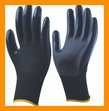 Black Polyurethane Palm Coated Gloves13 Gauge Seamless Nylon HYH261