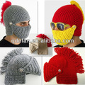 Bébé tricotés à la main chapeau bonnet barbe chevalier tuque hiver, earflap animal infantile bambin bébé crochet beanie acrylique