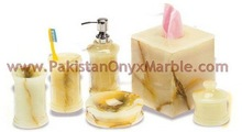 Polished honey onyx bathroom accessories