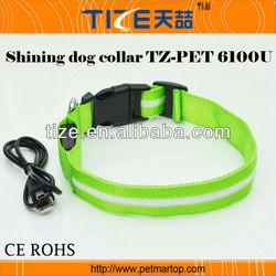CE/ ROHS material dog collar TZ-PET6100U Dog Collar LED USB