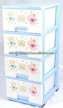 Colorful cartoon 4 drawers plastic storage