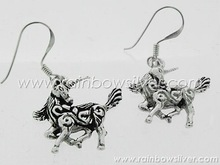 Unicorn Oxidise Filigree Stencil Dangle Earrings made with 925 Sterling Silver