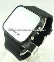 2013 New Design Cheapest Mirror Silicone Watch Multi-color LED