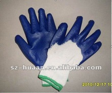 nitrile palm coated working gloves/working gloves/cotton gloves