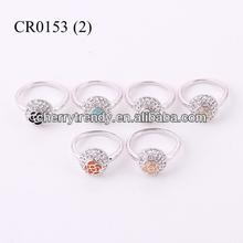 Crystal Ball Jewelry Turquoise Black Orange Enamel Flower Ring Fashion Engagement Ring