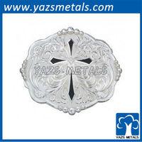 diamond shaped cross with silver flourishes western belt buckle