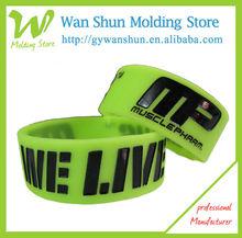 Cheap custom silicone charm bracelets with deboss logo