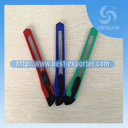 2013 hot sale paper slitting knife,promotion art knife,utility knife with plastic handle P-27