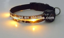 Leopard Leather LED Glowing sport dog collar