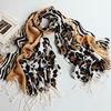 Acrylic fiber leopard print earth yellow tassel scarf