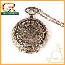 Classical Jewelry Retro Cute Owl Necklace Pendant Antique Bronze Alloy Mechanical Women&Men Flip Big Pocket Watch 1200o
