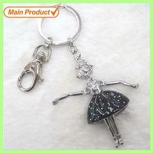 Black Enamel Skirt Silver Dancing Godess Charms Keychain Jewelry #15670