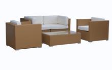 Ms-412 marrom PE rattan sala de estar mobiliário l forma sofá