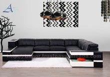 Afosngised European Style U-Shaped Leather Sofa