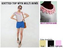 T-shirt with muti chiffon bows