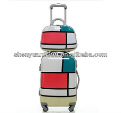 2013 New design fashion compass luggage trolley set bag/suitcase/travel case
