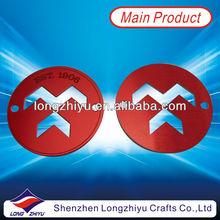 Round metal red pin emblem hollow out badge emblem custom fashion emblem