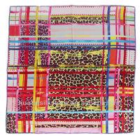 90x90cm rainbow candy satin square silk scarf fashion bandana 2013