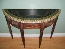 Antiqued Stained Glass & Marble Mosaic Table