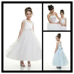 2015 Hot Sale Sleeveless A-line Ruffle With Sash Jacket Tea-length Long White Princess Flower Girl Dresses G114
