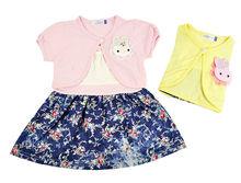 2013 Baby Girls Kids Summer Children's Dress Sets Braces Skirt + Short Sleeve Coat 11195