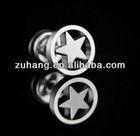 Studs Steel Fake Plug Piercing Barbell Pentagram Body Jewelry Ear Tunnel