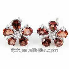 Cheap 925 Sterling Siliver Garnet Earring Jewellery