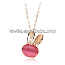 Girls lovely rabbit pendant opal necklace for friendship