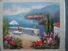 Handmade beautiful garden scenery oil painting