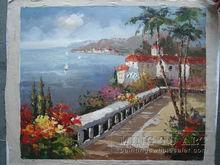 Handmade beautiful garden scenery oil painting,mediterrean