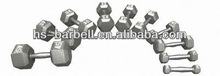 Pro-Hex cast iron dumbbell/cast iron hex dumbbells/steel weight lifting grey hammerstone