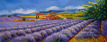 Handmade beautiful garden scenery oil painting,lavender field