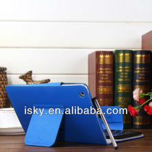 Navy Removable Wireless Bluetooth ABS Keyboard Folio PU Leather Case Cover Magnetic Smart Stand for iPad 2 New Apple iPad mini