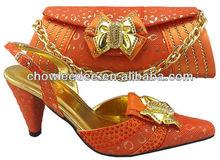 CSB1007 orange 2013 newest Italy wedding shoes match bag