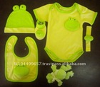 100% Organic Cotton Unisex Baby Clothing Set for Rompers Booties Hat and Rattle