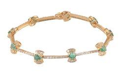 Emerald with Diamond Bracelet in 18 Carat gold