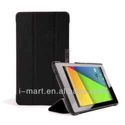leather case cover for Google New Nexus 7 FHD (2nd Generation)Auto Wake / Sleep Shell with Elastic Hand Strap, Stylus Loop