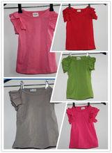 Soft and Breathable!!! 2013 fashion/latest solid/plain Cotton Girls' Tops/pettitops/ petti casual tops ruffle petti top/tshirt