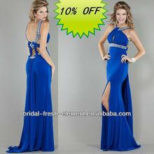 Hot Sale Long Good Quality Chiffon Spaghetti Strap Front Slit Royal Blue Mermaid Prom Dresses