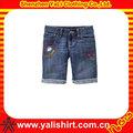 Moda bordado costume projeto jeans meia calça, Crianças shorts jeans meninas