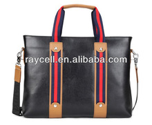 new products western style wholesale contrast genuine Leather men's business laptop bag