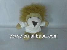 mini lion plush toys/soft plush lion with t-shirt/small stuffed plush lion