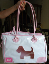 Pet Carrier Fashion Bag For Small Dogs - Light Pink / White