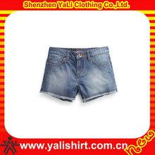 Wholesale 100% cotton light blue sexy women shorts jeans / short frayed denim shorts