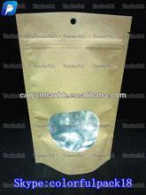 custom brown kraft paper bag for food with ziplock and window/wholesale paper bag