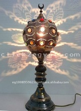 Unique Moroccan Jeweled Brass Ball Table lamp *Home Decor*