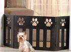 "ADJUSTABLE 47""X19"" WOODEN PAW DESIGN PET GATE ENCLOSURE OR COT/BED CAT/DOG LOOK!"