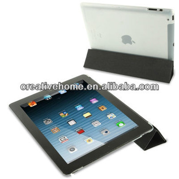 4-folding Pure Color Smooth Surface Plastic + Leather Case for iPad 4