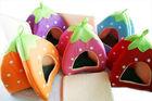 Cute Cashmere Foldable Strawberry Pet Nest Dog Bed Cat Bed 5 Colors Size L M S